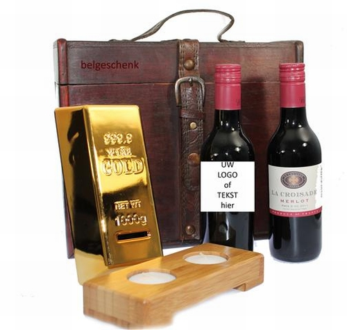 Wijngeschenk Gold met naametiket