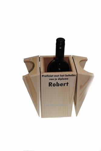 Wijnkist met Naam ontvanger en Merlot wijn