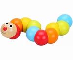 Baby speelgoed Houten rups gekleurd